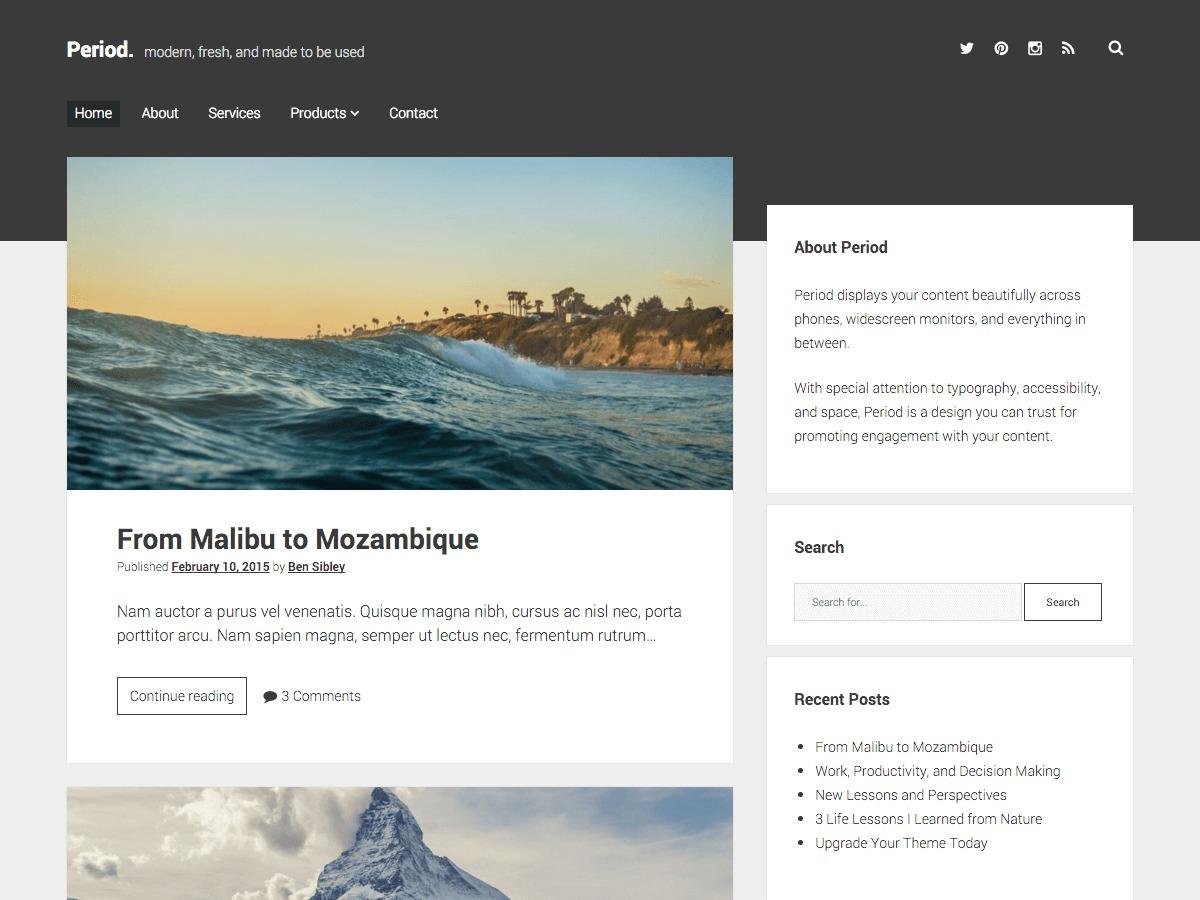 Period WordPress template free