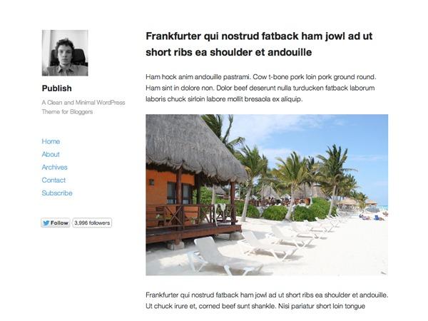 Publish WordPress blog theme