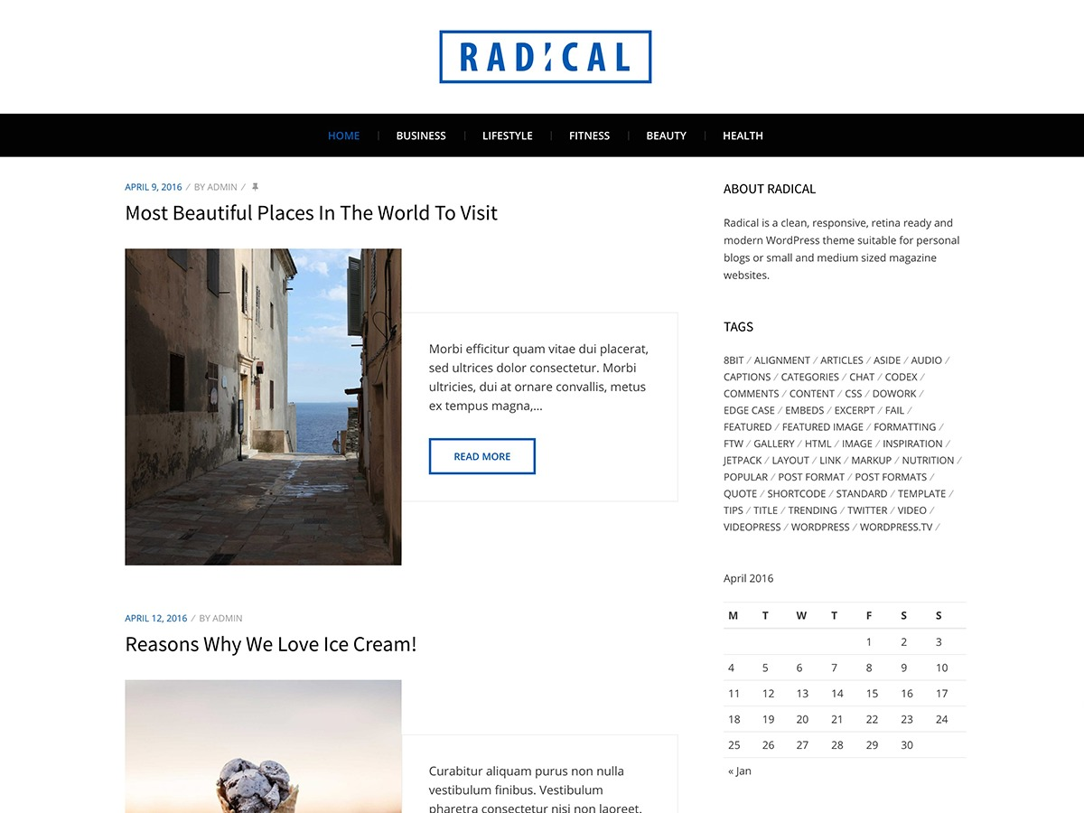 Radical Lite WordPress theme download