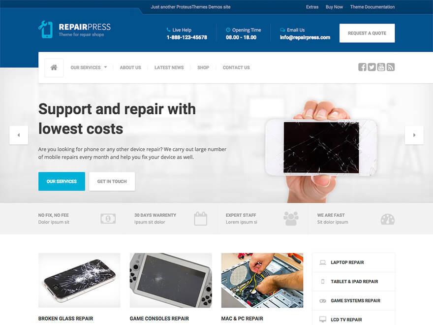 RepairPress PT WordPress website template