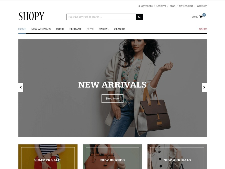 Shopy WordPress ecommerce template