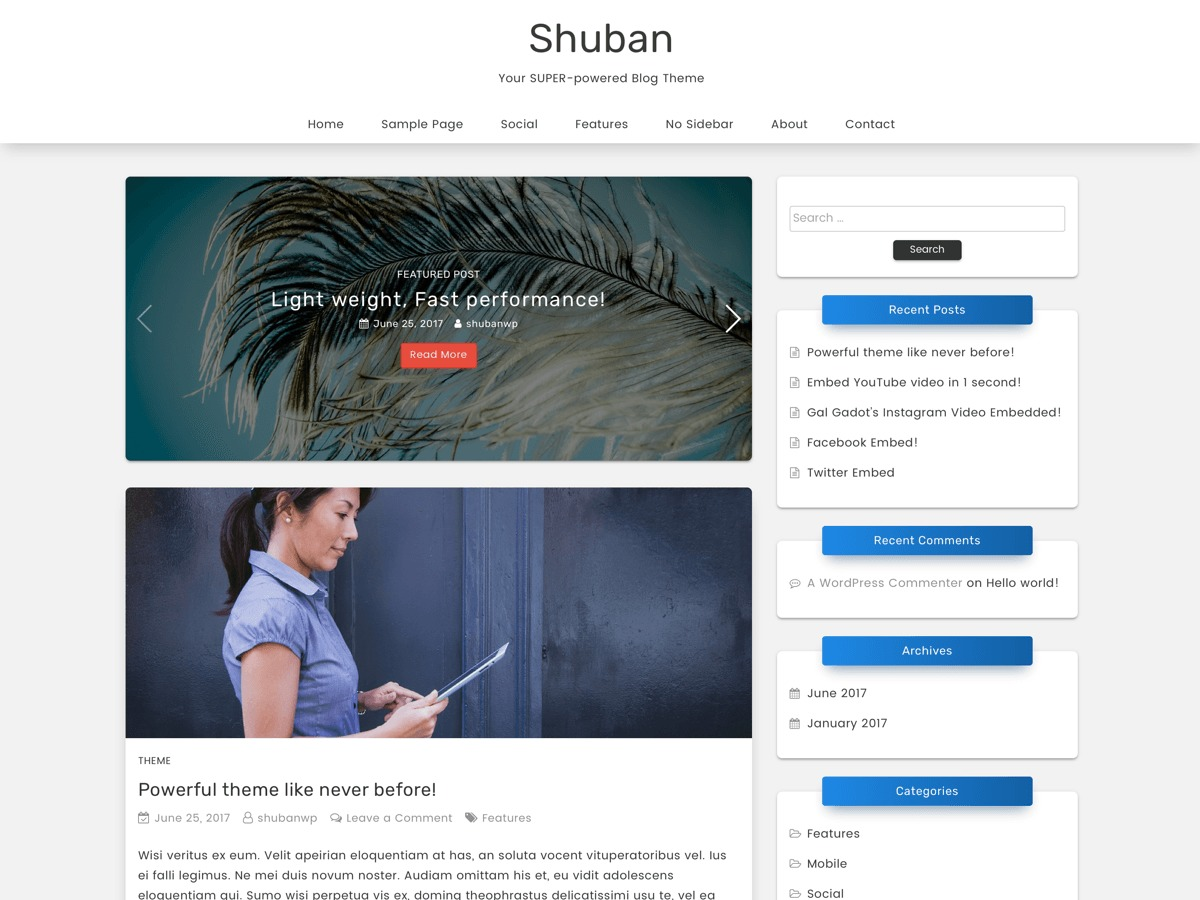 Shuban WordPress blog template