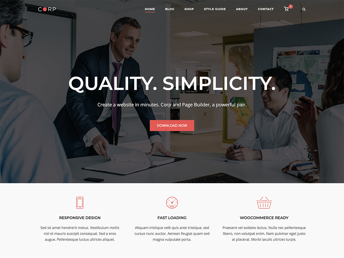 SiteOrigin Corp free website theme