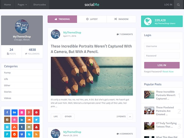 socialMe by MyThemeShop WordPress shop theme