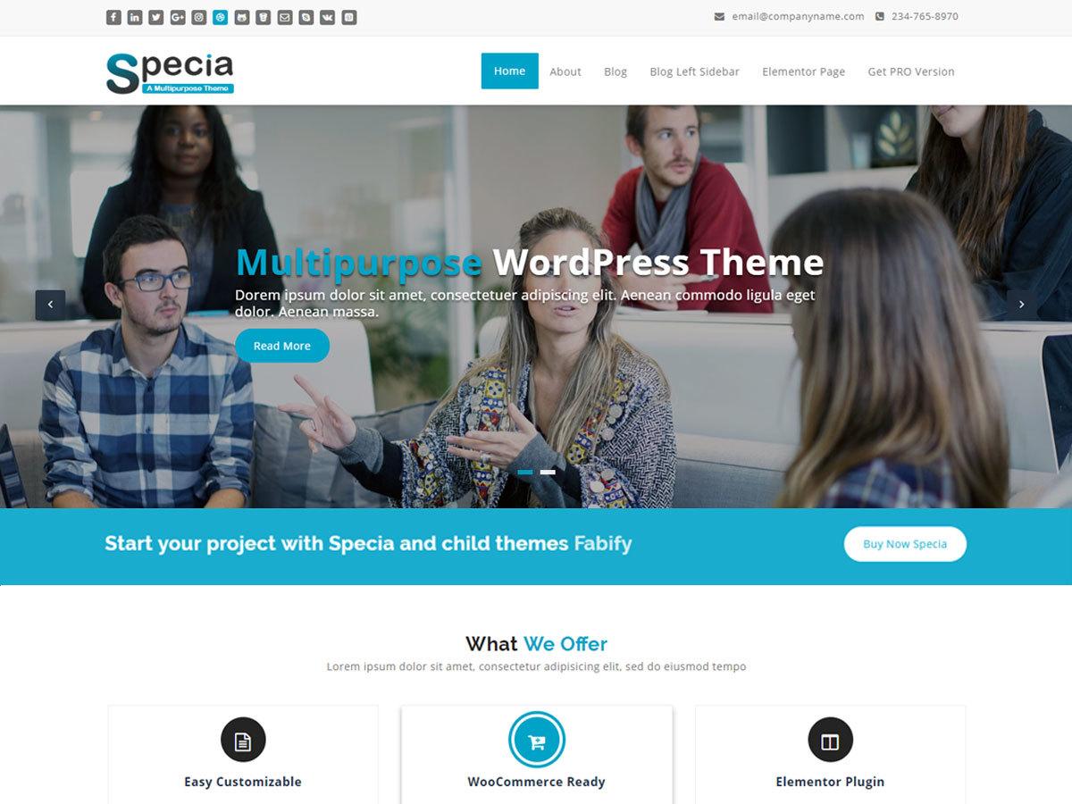 Specia free WordPress theme