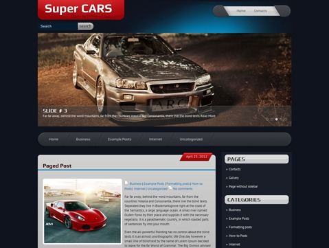 SuperCars WordPress page template