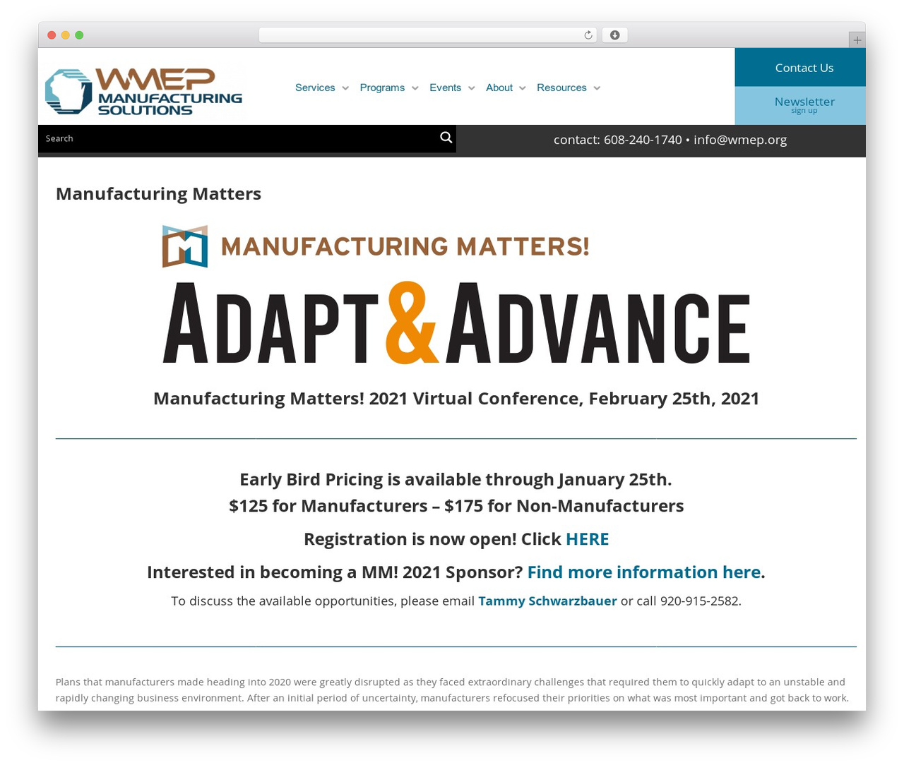 Template WordPress Gantry Theme for WordPress - wmep.org/events/manufacturing-matters-conference