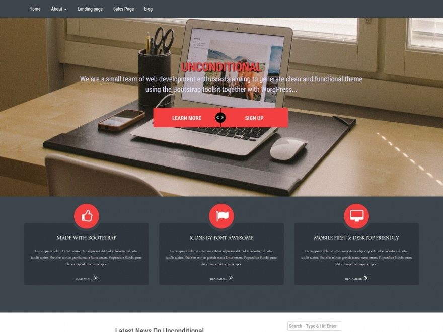 Unconditional WordPress portfolio theme