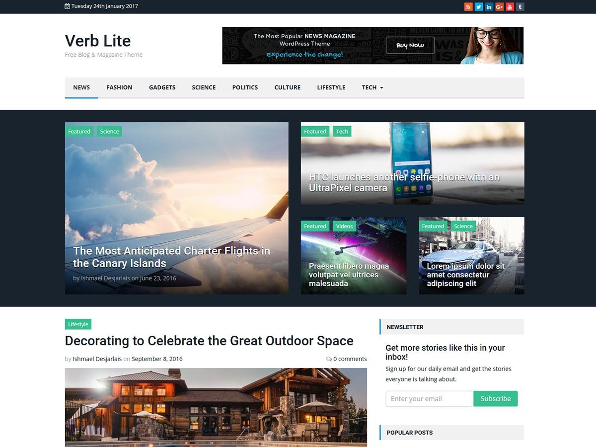 Verb Lite WordPress news theme