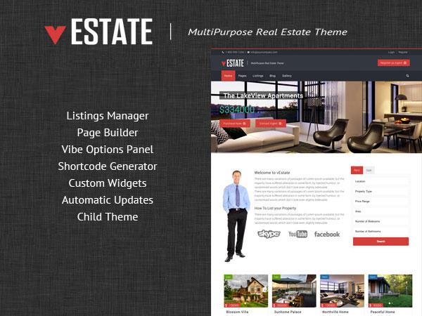 vEstate real estate template WordPress