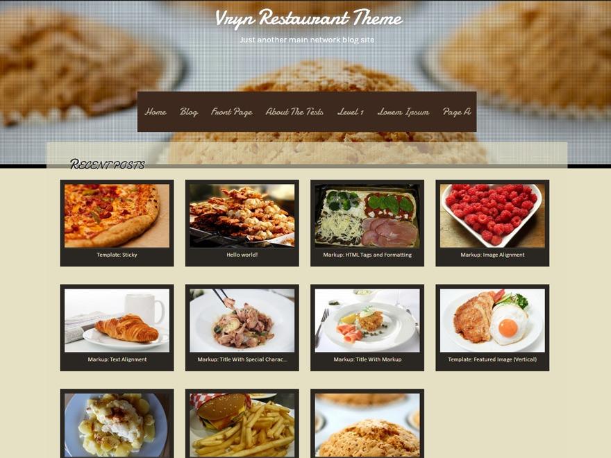 VRYN Restaurant WordPress restaurant theme