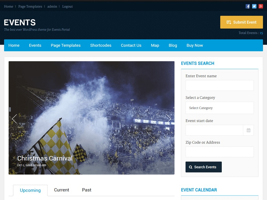 WordPress theme Events