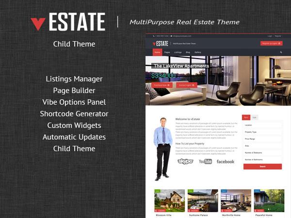 WordPress website template vEstate ChildTheme