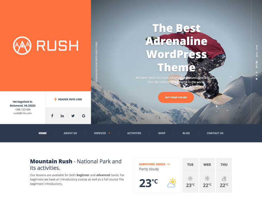 Adrenaline PT business WordPress theme