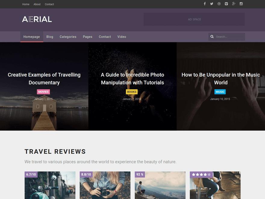 Aerial WordPress news theme
