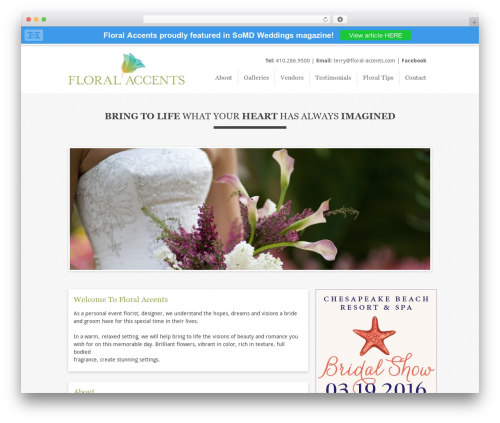 Floral WordPress wedding theme - floral-accents.com