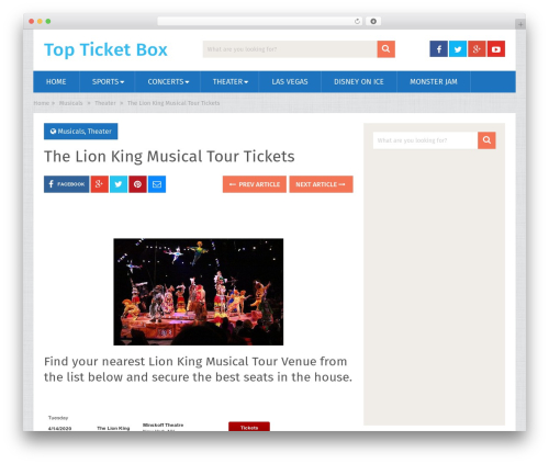 SociallyViral by MyThemeShop WordPress store theme - topticketbox.com/the-lion-king-musical-tour-tickets