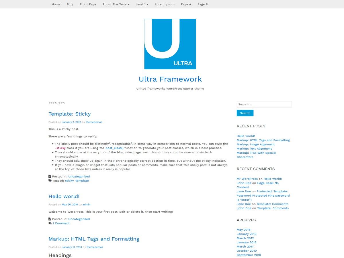 Ultra Framework WordPress free download