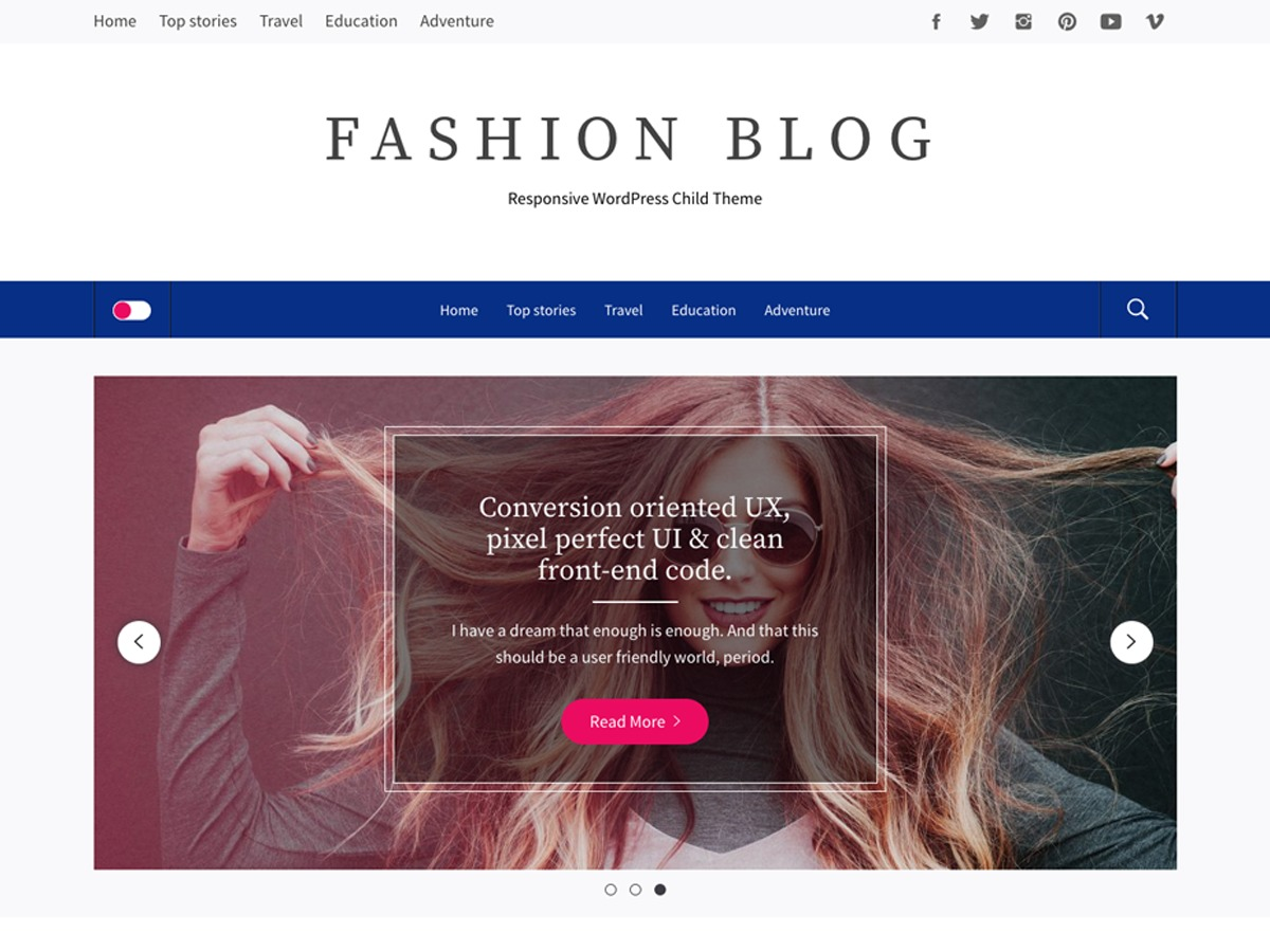 Fashion Blog WordPress blog template