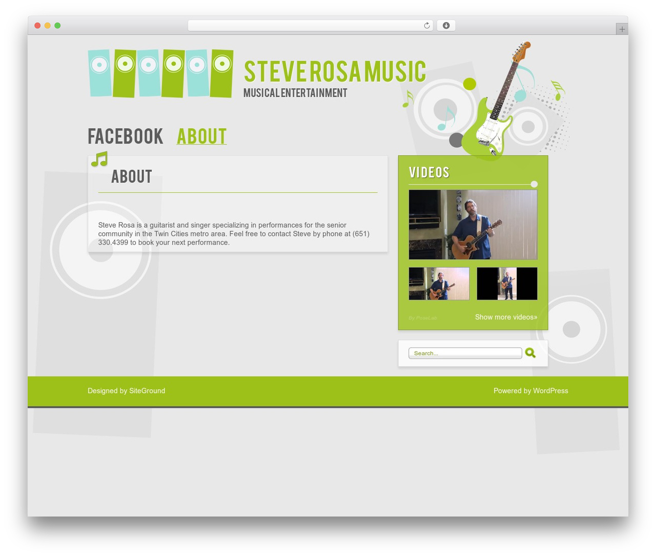 Music WordPress page template by Net-Labs - steverosamusic.org