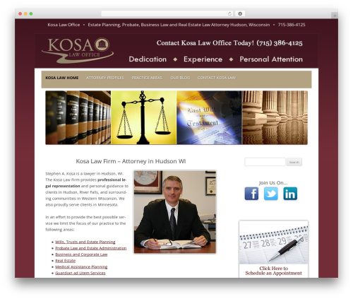 Kosa Law Office WordPress website template by Einstein SEO LLC
