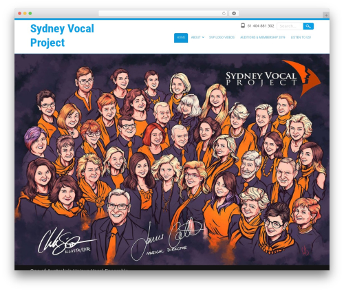 Selfie free WP theme - sydneyvocalproject.com