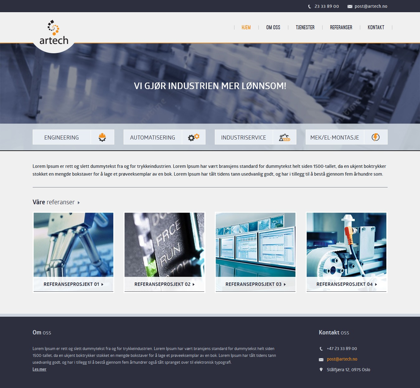 WordPress website template Artech