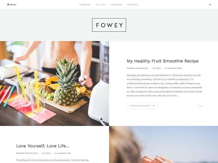 Fowey WordPress blog template