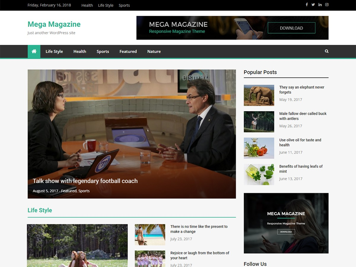 Mega Magazine best WordPress magazine theme