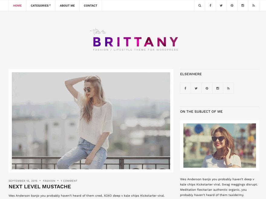 Brittany WordPress blog template