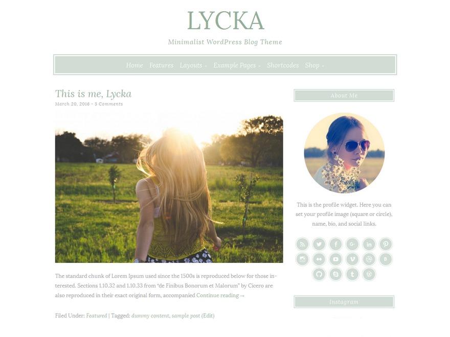 Lycka WordPress blog template