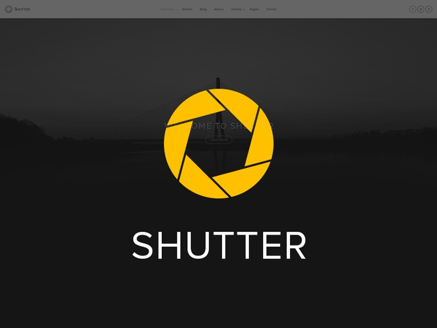Shutter WordPress template for photographers