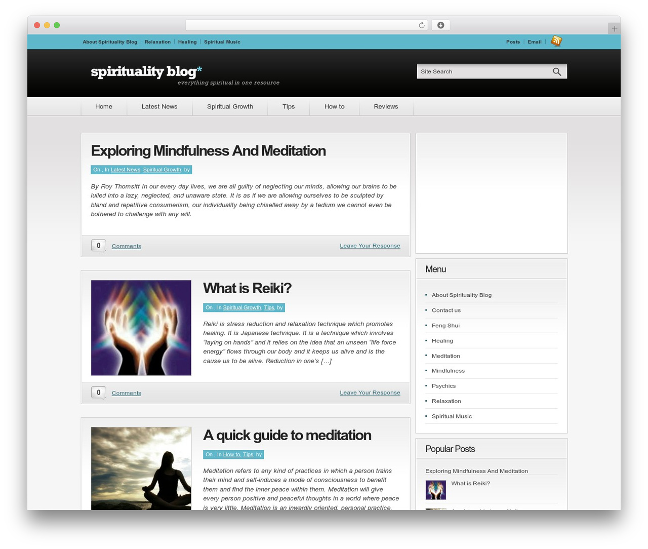 Convergence WordPress blog template - spiritualityblog.net