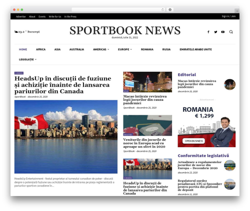 Newspaper top WordPress theme - sportbook.ro