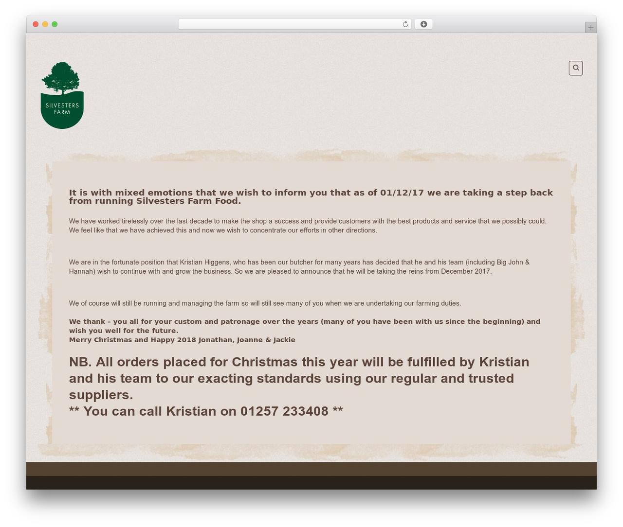 Organic Web Shop best WordPress theme - silvestersfarm.co.uk