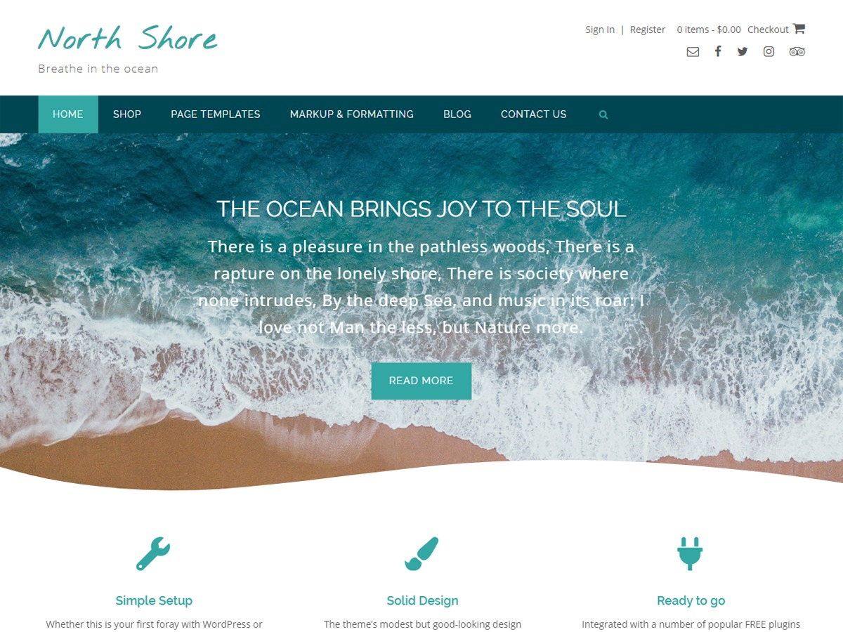 North Shore WordPress ecommerce template