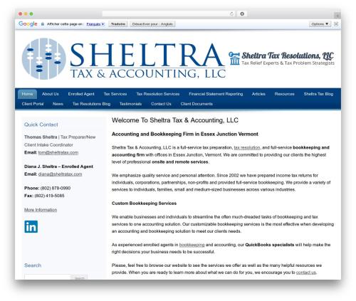 Customized WordPress template for business - sheltratax.com