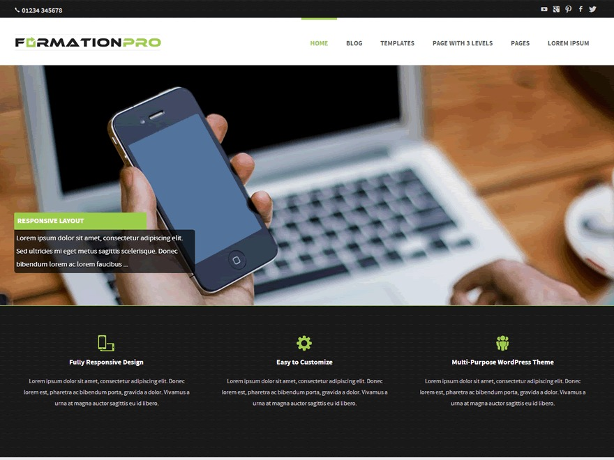 WordPress website template Formation Pro