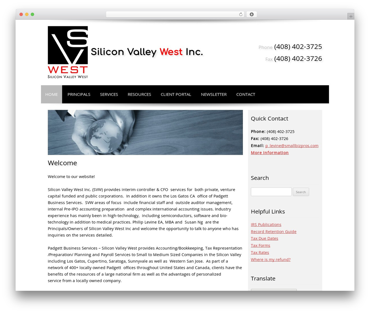 Customized theme WordPress - siliconvalleywest.com