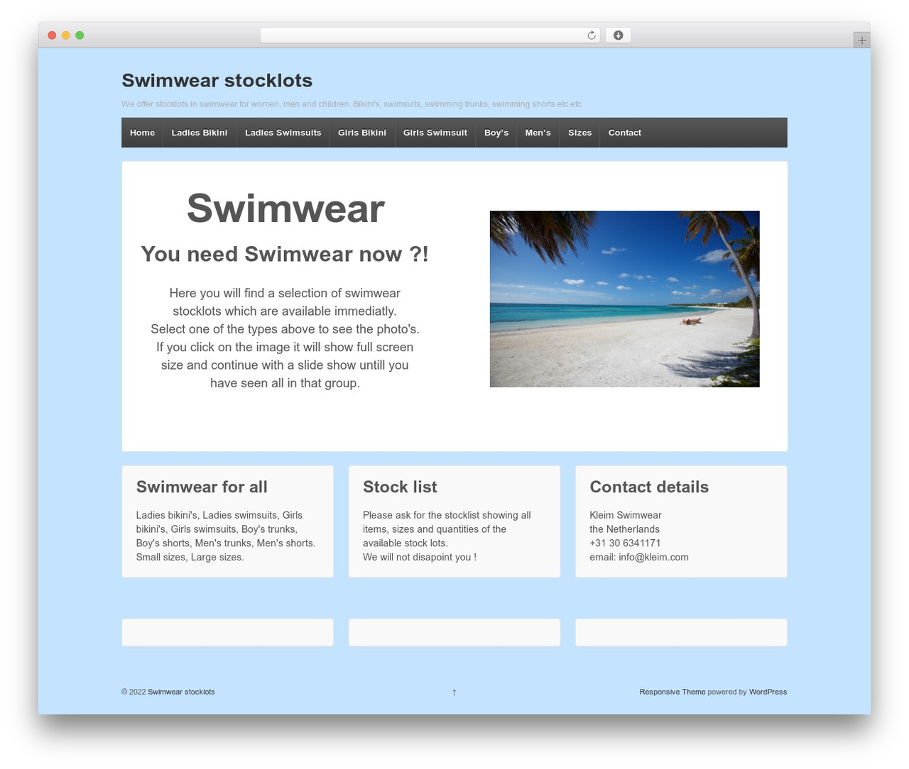 Responsive WordPress template free - swimwear-stock.com