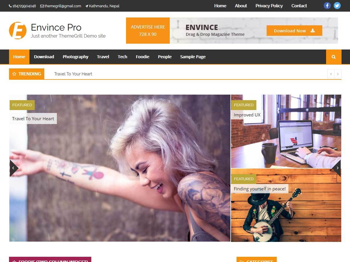 Envince Pro WordPress news template
