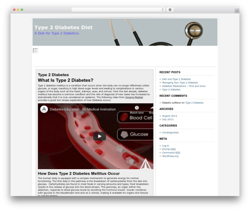 Socrates WordPress website template - type-2diabetesdiet.com