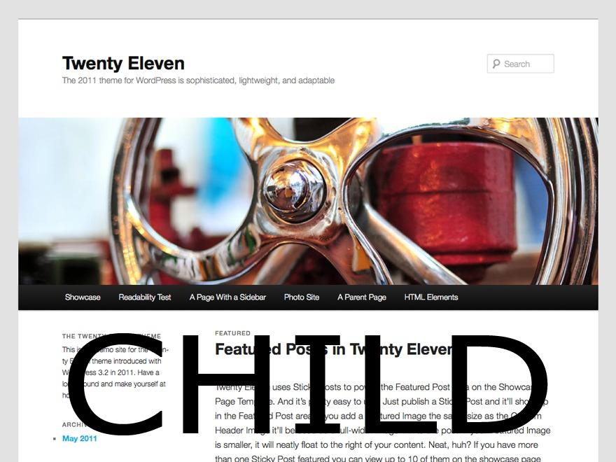 WordPress website template Twentyeleven child