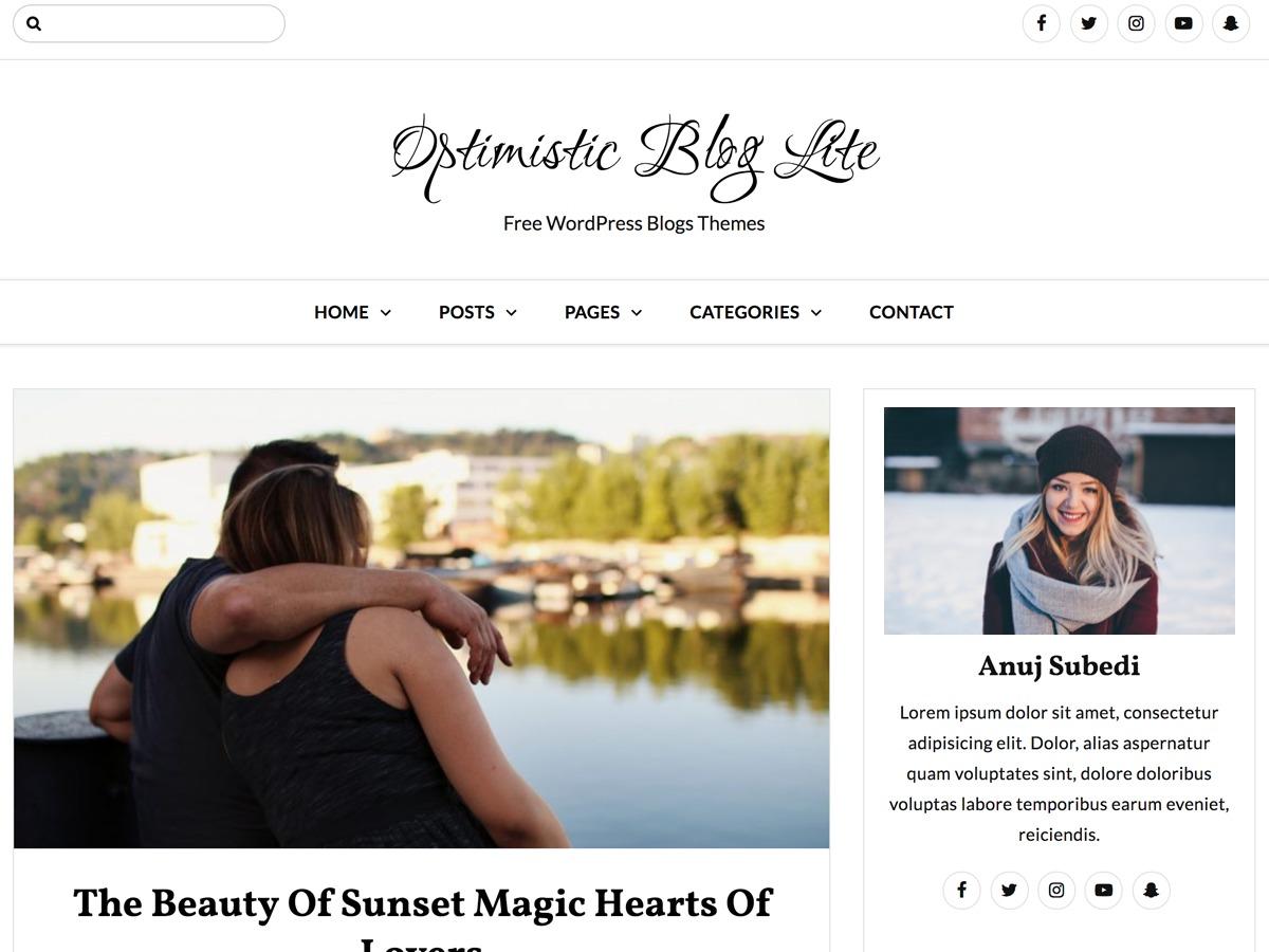 Optimistic Blog Lite fashion WordPress theme