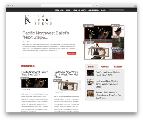 Delicate News WordPress theme - seattleartsnews.com