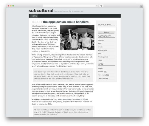 minimal theme WordPress - subcultural.net