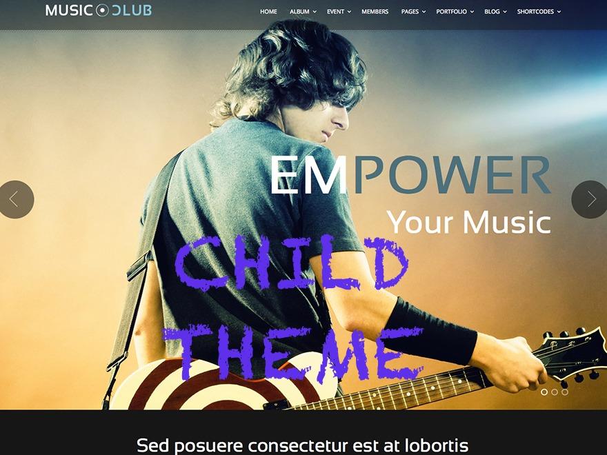 Music Club Child Theme WordPress page template