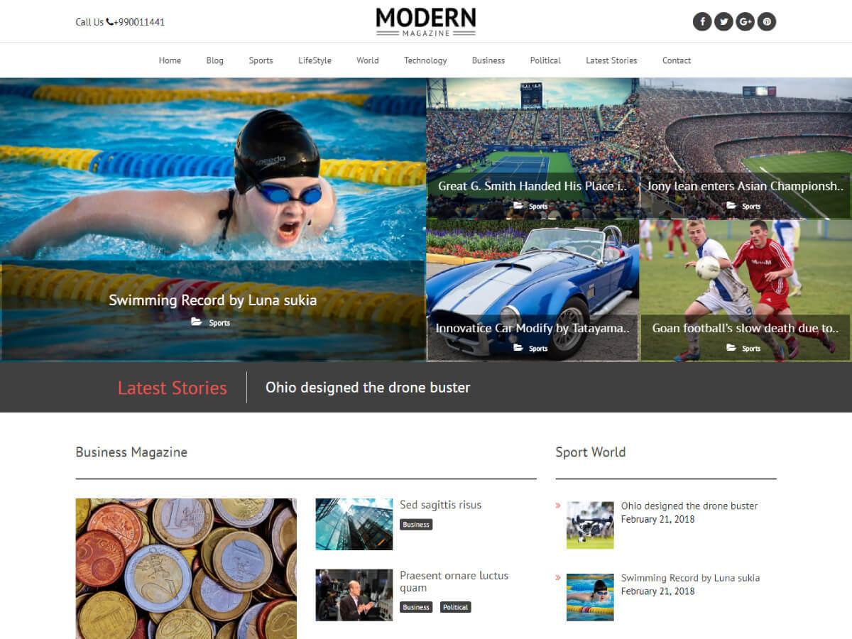 Modern Magazine WordPress news template