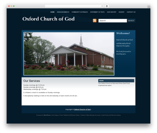 Company Style Blue WordPress template for business - oxfordchurchofgod.com