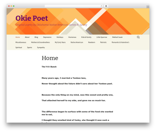 Twenty Thirteen free WordPress theme - okiepoet.com